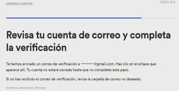 verifica la eliminacion por mail