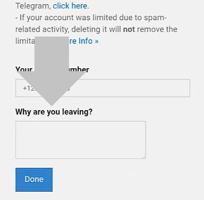 añade un motivo para cerrar tu cuenta de telegram