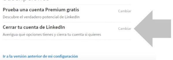 elige cerrar tu cuenta de linkedin