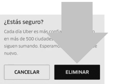 eliminar cuenta uber usuario o conductor