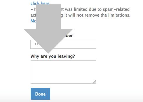 especifica el motivo por el que quieres cerrar tu cuenta de telegram