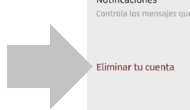 selecciona la opcion de eliminar tu cuenta