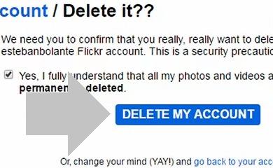 borrar cuenta de flickr
