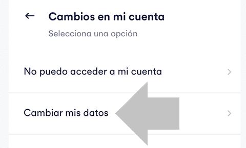 cambiar mis datos cuenta cabify