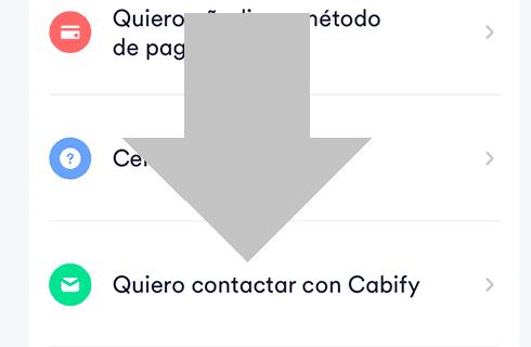 pulsa en quiero contactar con cabify