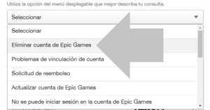 selecciona eliminar cuenta de epic games