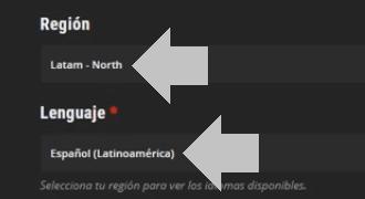 selecciona tu region y lenguaje