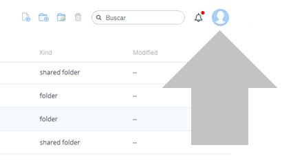clica en tu imagen de usuario dropbox