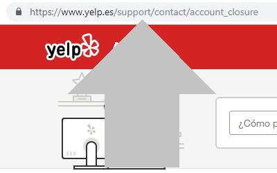 ingresa a la pagina de solicitudes de cierre de cuenta yelp